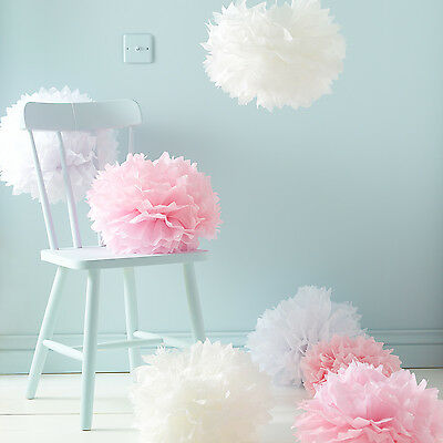 Pack Of 9 White, Pink & Ivory Hanging Tissue Paper Pom Poms, Wedding Decoration