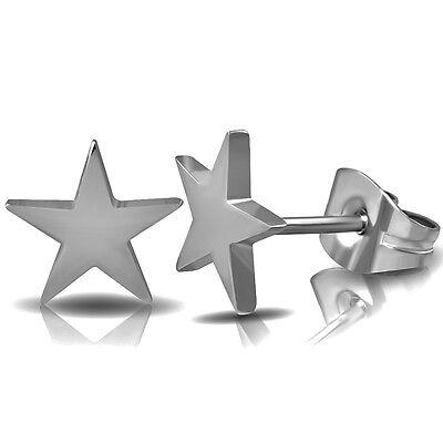 316L Negro Acero Inoxidable Quirúrgico Aretes Zarcillos De Estrellas