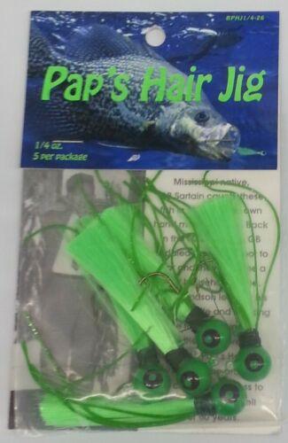 Qty 5 Green//Green Pap/'s Hair Jigs 1//4 oz Crappie Jigs