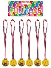 6 x Plastic Gold Winners Medals with Ribbon - Sports Day Party Bag Prize Awards