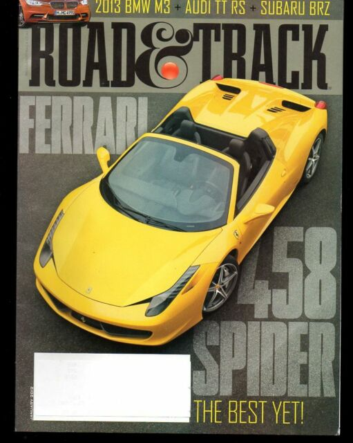 Road & Track January 2012 BMW M3 Audi TT RS Subaru BRZ Ferrari 458 Spyder