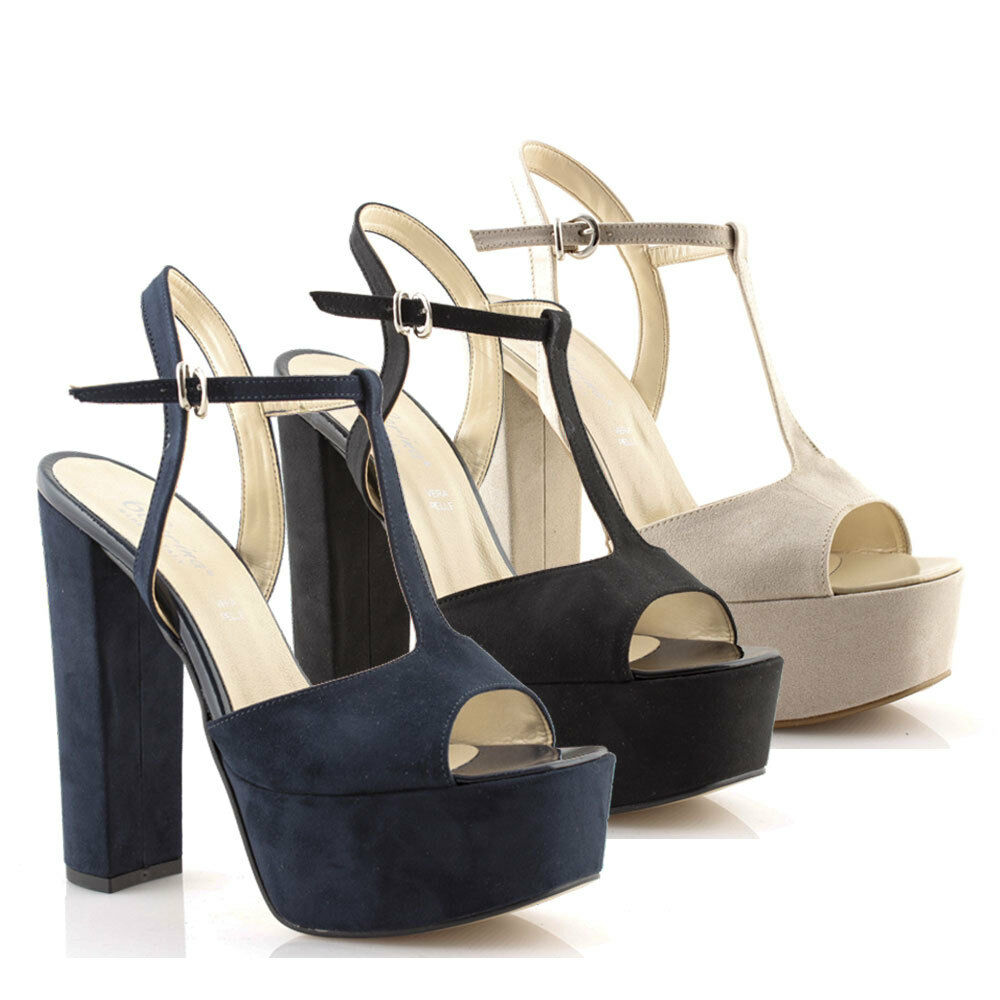 Women's shoes sandals with plateau high heel sprung toe square court shoes