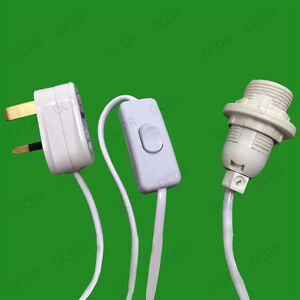 E14 SES UK Plug Light Bulb Holder Inline Switch Salt Selenite Desk
