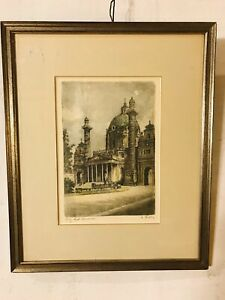 Charcoal-Drawing-Of-Church-Yard-Antique-12-X14-C10pix4closeup-size-MAKE-OFFER