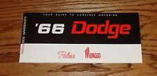 1966 Dodge Polara Monaco Owners Operators Manual Instructions 66
