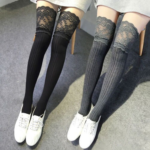 Fashion Womens Knitting Lace High Socks Over Knee Thigh High Stockings Pa ddvv