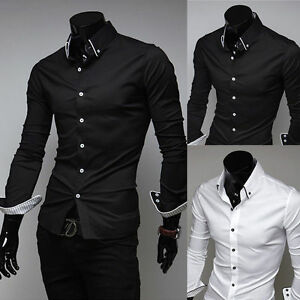 Korean-Men-039-s-Casual-Luxury-Stylish-Shirts-Solid-Slim-Fit-Stylish-Dress-Shirt-Top