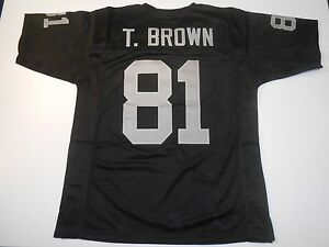 Oakland-Raiders-Tim-Brown-UNSIGNED-CUSTOM-Black-Jersey-XL