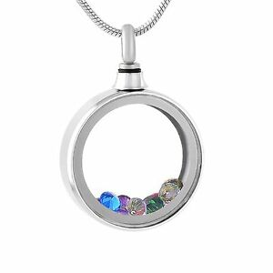 Stainless-Steel-Jeweled-Round-Cremation-Pendant-Urn-Jewelry-Pet-Ashes-Human-FS