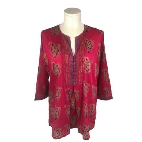 Anokhi Indian Pink Cotton Button Blouse - Large