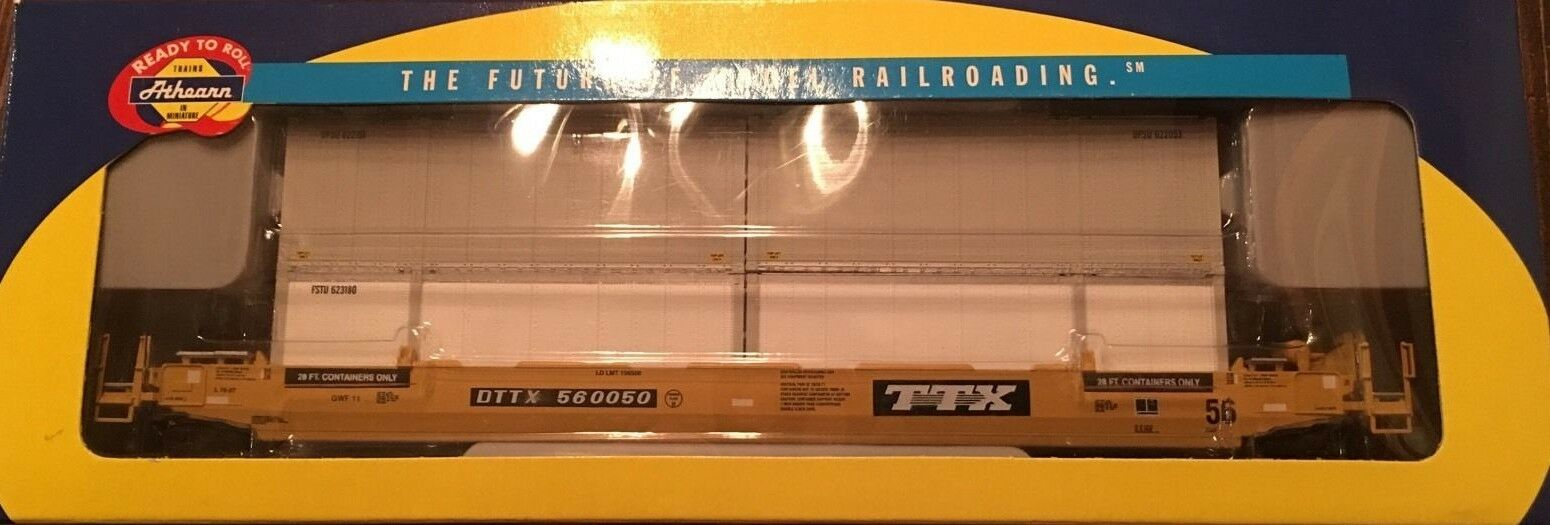 Athearn  TTX 56' Container Well auto & 4 28' UPS Containersnuovo Old StockHO