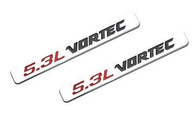 2pcs 5.3L VORTEC Badge Emblems 3D Decal 1500 2500hd Silverado Truck Black Red