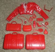 BARBIE DOLL TRAVEL ACCESSORY SET - 16pc RED LUGGAGE, SHOES, COSMETICS & MORE
