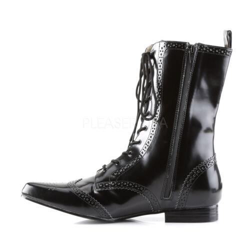 "Wingtip Lace-Up Mid-Calf Oxford Mens Boots Demonia Brogue 10 1/"" Block Heel"