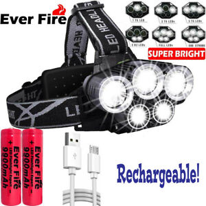 350000LM T6 LED Headlights Flashlight With Battery Water-resistant For Camping