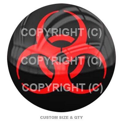 Red Zombie Hazard Premium Glossy Round 3D Epoxy Domed Decal Indoor /& Outdoor