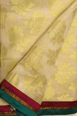 Vintage Indian Pure Cotton Saree Hand Woven Sari Fabric Recycle Antique Material Woman Clothing Traditional Textile Ethnic Sarong PCS4759
