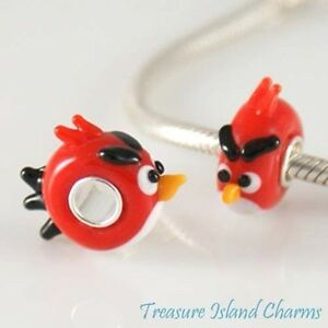 Red Bird Lampwork Glass European Bead Charm with 925 Sterling Silver Single Core