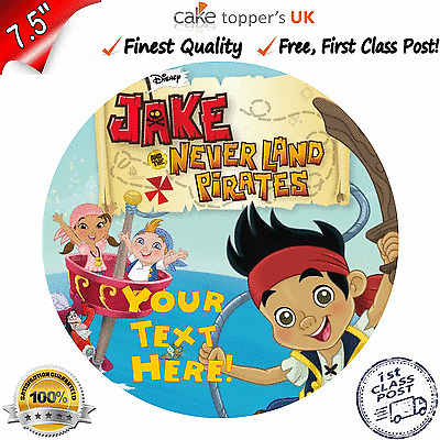 Pleasant Jake And The Neverland Pirates Edible Birthday Cake Topper 7 5 Personalised Birthday Cards Fashionlily Jamesorg