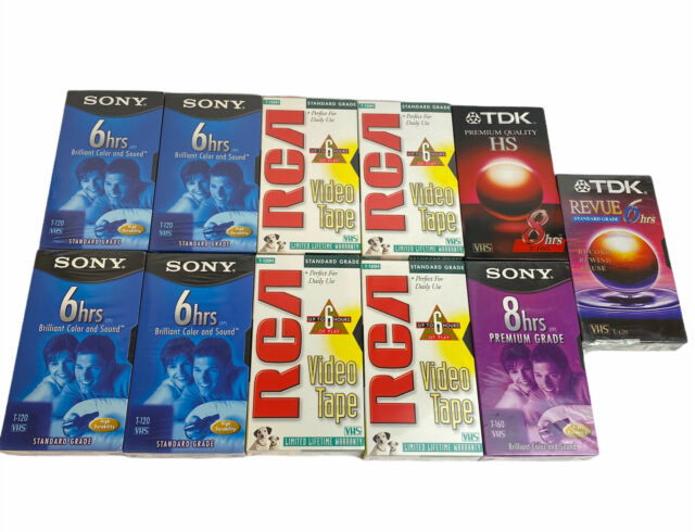 Lot of 11 Blank VHS Video Tapes New & Sealed Sony T-120 RCA T-120h TDK T-160