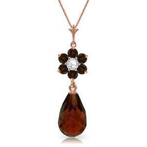 Genuine-Red-Garnet-Gemstones-amp-Diamond-Flower-Pendant-Necklace-in-14K-Solid-Gold