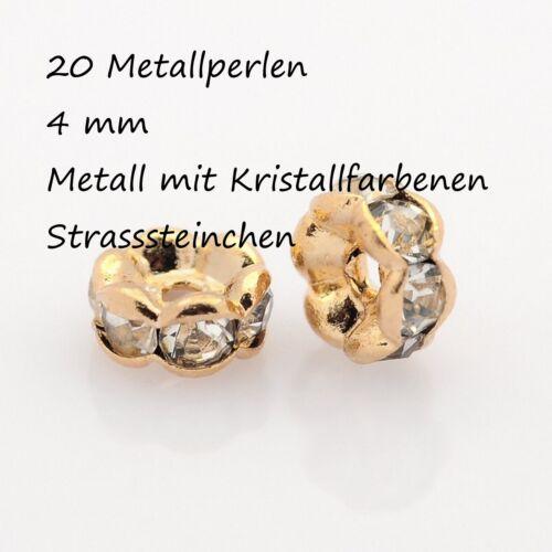 20 Métal Perles Spacer Entre PERLES STRASS RHINESTONE Rosegold Or Argent