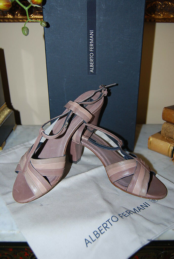ALBERTO FERMANI ITALY LEATHER STRAPS HEEL PEP TOE SANDALS WOMEN'S  NWB SIZE 7 M