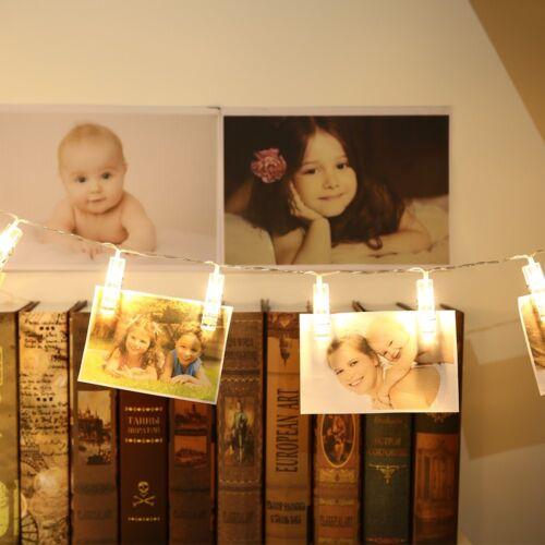 20//10 LED foto Peg Clip LED Luce FAIRY stringa Matrimonio da appendere foto Decor UK