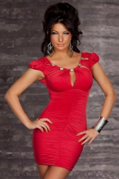 49f45e9f668e RED MINI DRESS WITH RUCHED BODICE, PUFF SLEEVES AND SCOOP KEYHOLE NECKLINE  WITH METALIC ACCENTS