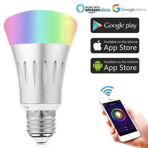 wifi rgb cw e27 led gl hbirne lampe f r alexa google home ifttt smart home ebay. Black Bedroom Furniture Sets. Home Design Ideas