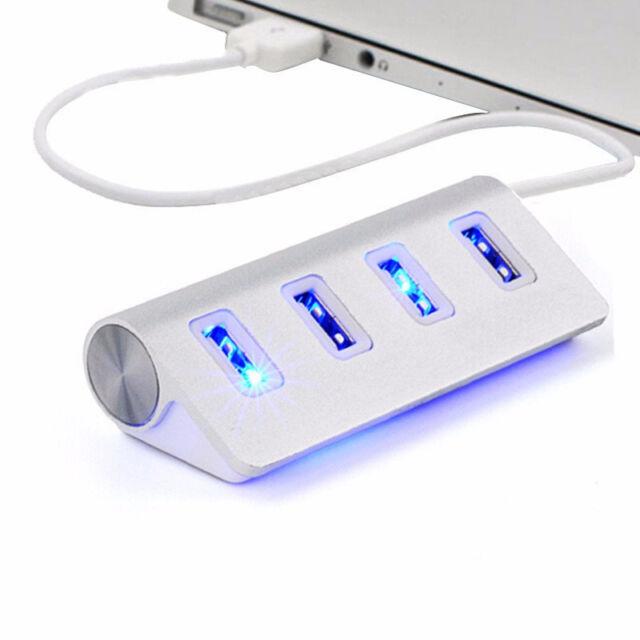 4-Port USB 2.0 Multi HUB Splitter Aluminum Adapter High Speed For PC Mac LOT TF~