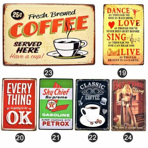 Vintage Garage Plaques Rusty Metal Bar Sign Coffee Wine Wall Decor Scuffed Plate