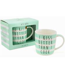 2 X I KISS BETTER THAN I COOK COFFEE TEA MUG CUP FINE CHINA NEW GIFT BOX FUNNY