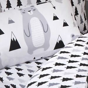 Scandi-Ours-Foret-Junior-Bebe-Duvet-Couverture-Ensemble-Scandinavian-Design