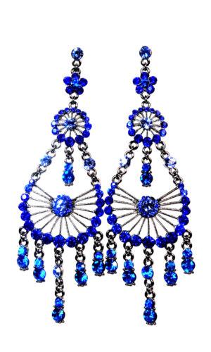 Royal Blue Ladies Diamante Earrings set to sparkle & destined to dazzle  (SR)