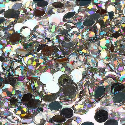1000 Crystal Flat Back Acrylic Rhinestones Gems 1mm 2mm 3mm 4mm 5mm 6mm 7mm 8mm