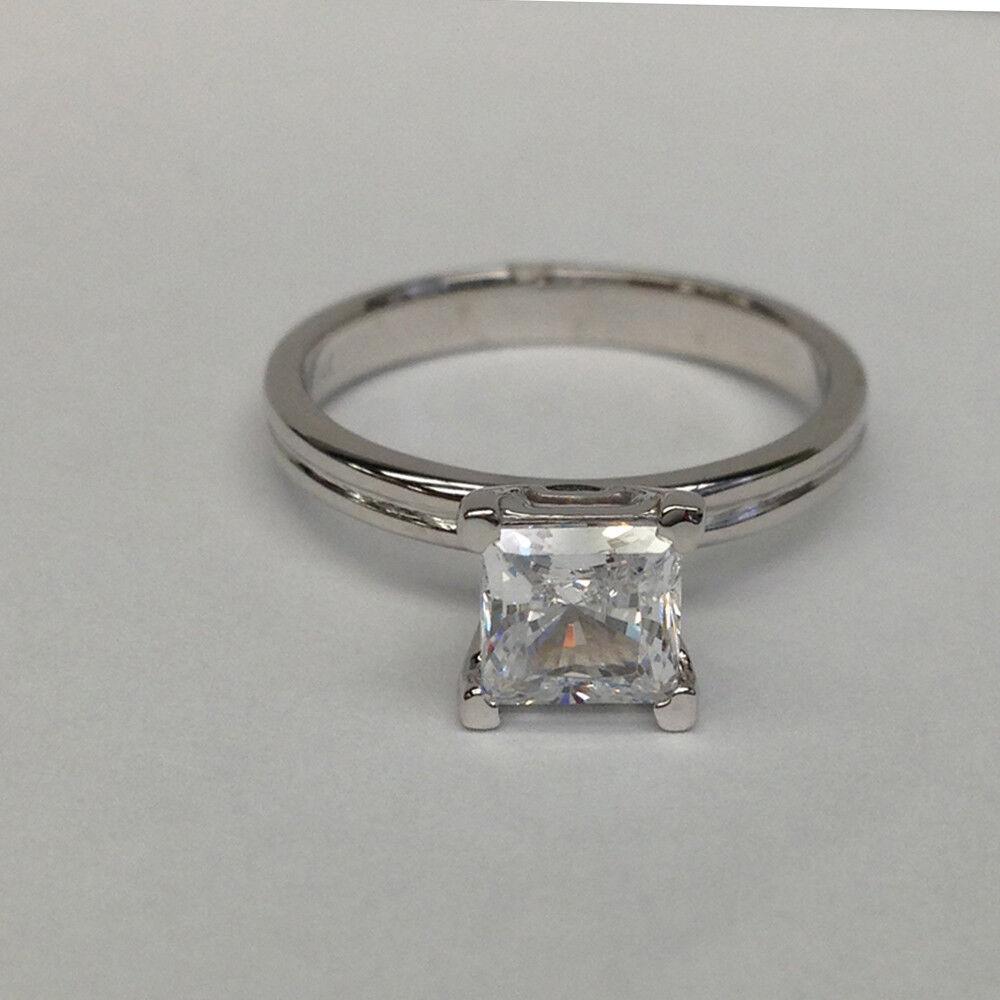 0.45 Carat White gold 18K Diamond Ring Princess Cut VS2 D Wedding, Enhanced