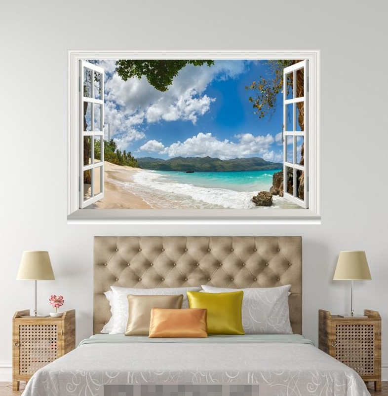 3D Spray Beach 66 Open Windows WallPaper Murals Wall Print Decal Deco AJ Summer