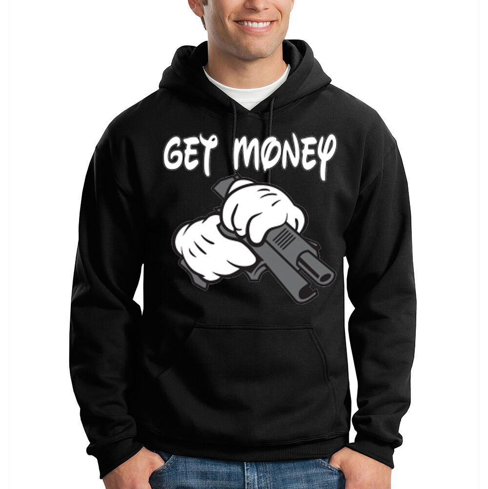 Get Money Cartoon Hands Holding Gun Funny Gangsta Hooded Sweatshirt Hoodie
