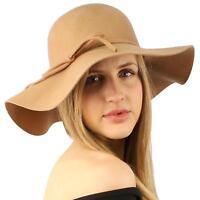 Winter Soft Wool Felt Ribbon Bow Floppy 3-1/2 Wide Brim Dress Church Hat Camel