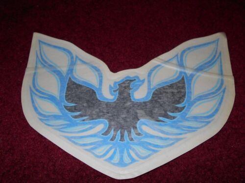 """1976 PONTIAC FIREBIRD TRANS-AM HOOD BIRD DECAL TRANSFER NEW BLUE 8 1//2/"""" NICE!"""