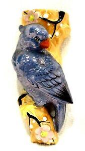 Vintage-Japanese-Opalescent-Blue-Bird-Wall-Pocket-7-5-034-x-3-034-x-2-5-034