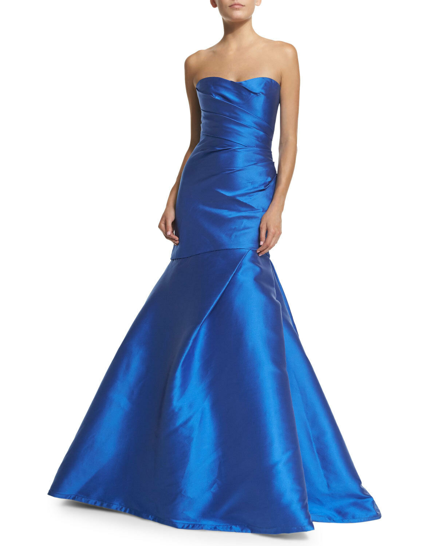 3995 New Monique Lhuillier COLLECTION Cobalt bluee Strapless Mermaid Gown 4 6 8