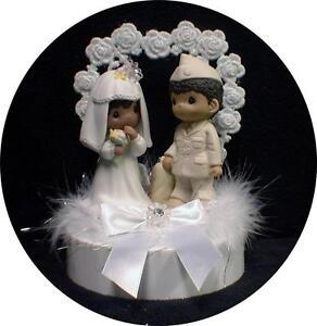 African-American Bride Army Navy Marine Groom Soldier Wedding Cake ...