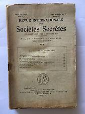 REVUE INTERNATIONALE SOCIETES SECRETES N°3 1932 FRANC MACONNERIE PUISSANCE