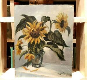 Altes-kleines-Olgemaelde-Olbild-Stillleben-Blumenbukett-Sonnenblumen-signiert