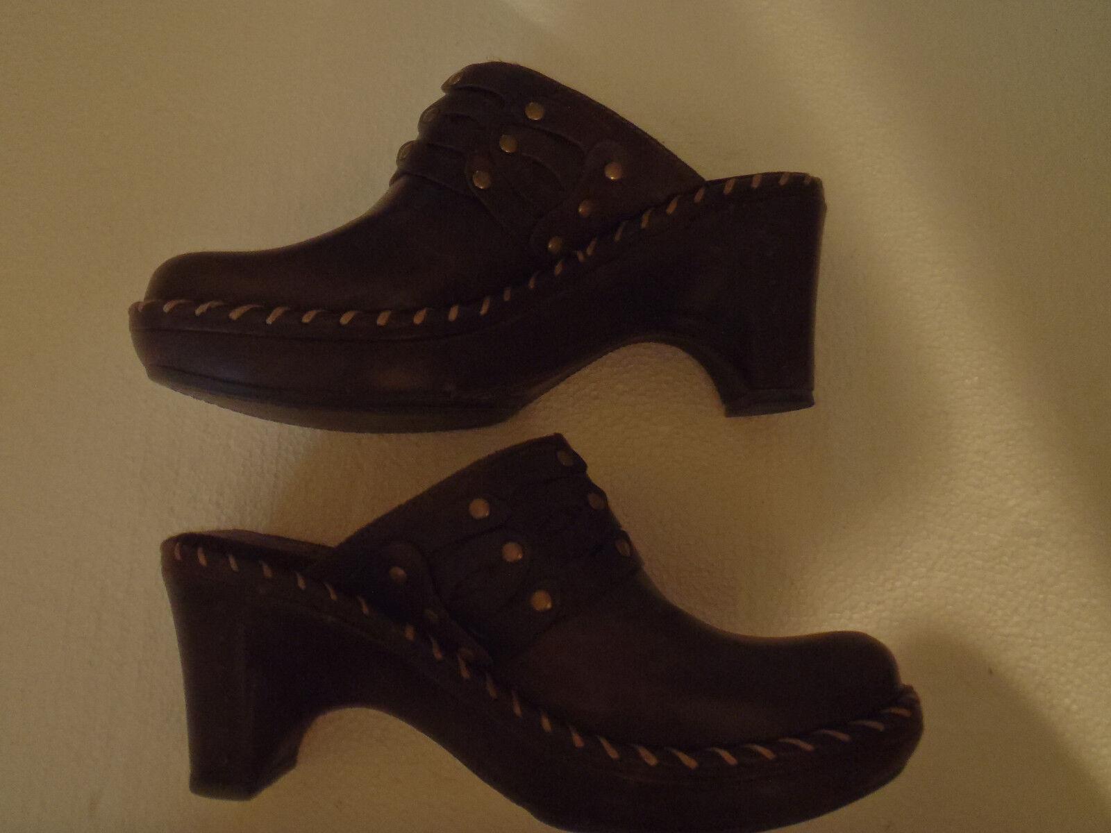 Frye Wedges Clogs Heels Dark Brown Leather Tanned 70850 Slides Slides Slides Mules 5.5M 7dcb8c