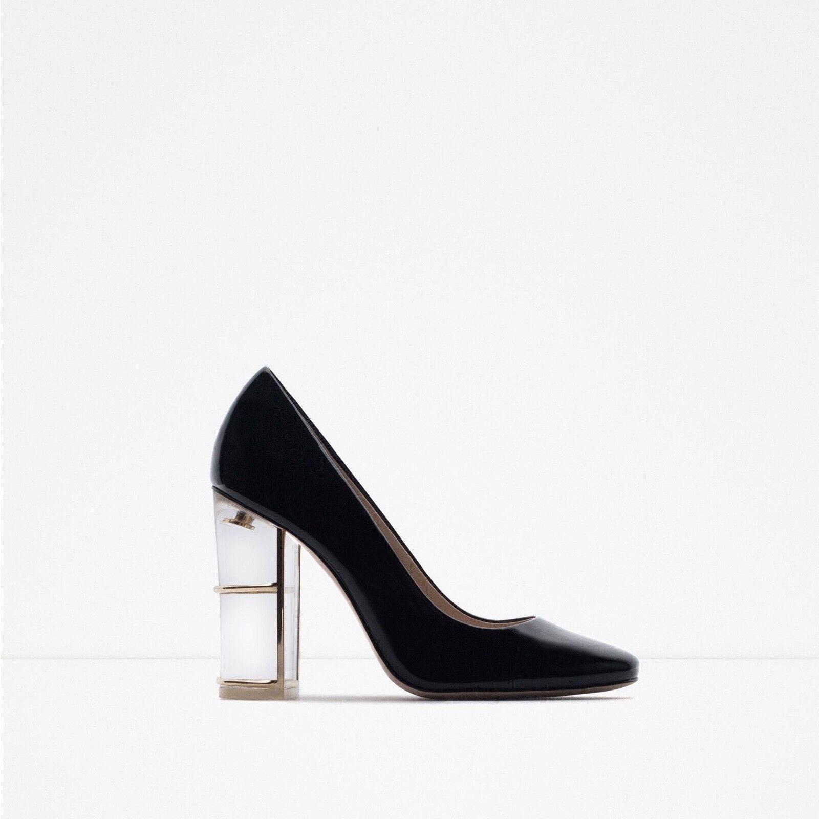 Zara schuhe detail with clear acrylic heel detail schuhe in euro 36 996e61