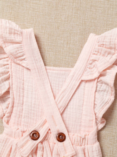 Newborn Baby Girls Romper Cotton Clothes Birthday Party Sleeveless  Jumpsuit Set