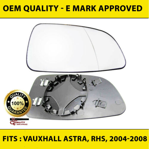 VAUXHALL ASTRA H MK5 WING MIRROR GLASS HEATED RIGHT DRIVER OFFSIDE 2004-08 CLIP